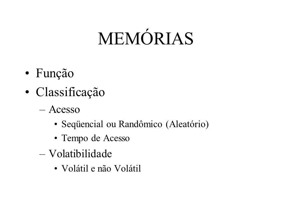 MEMÓRIAS Função Classificação –Acesso Seqüencial ou Randômico (Aleatório) Tempo de Acesso –Volatibilidade Volátil e não Volátil