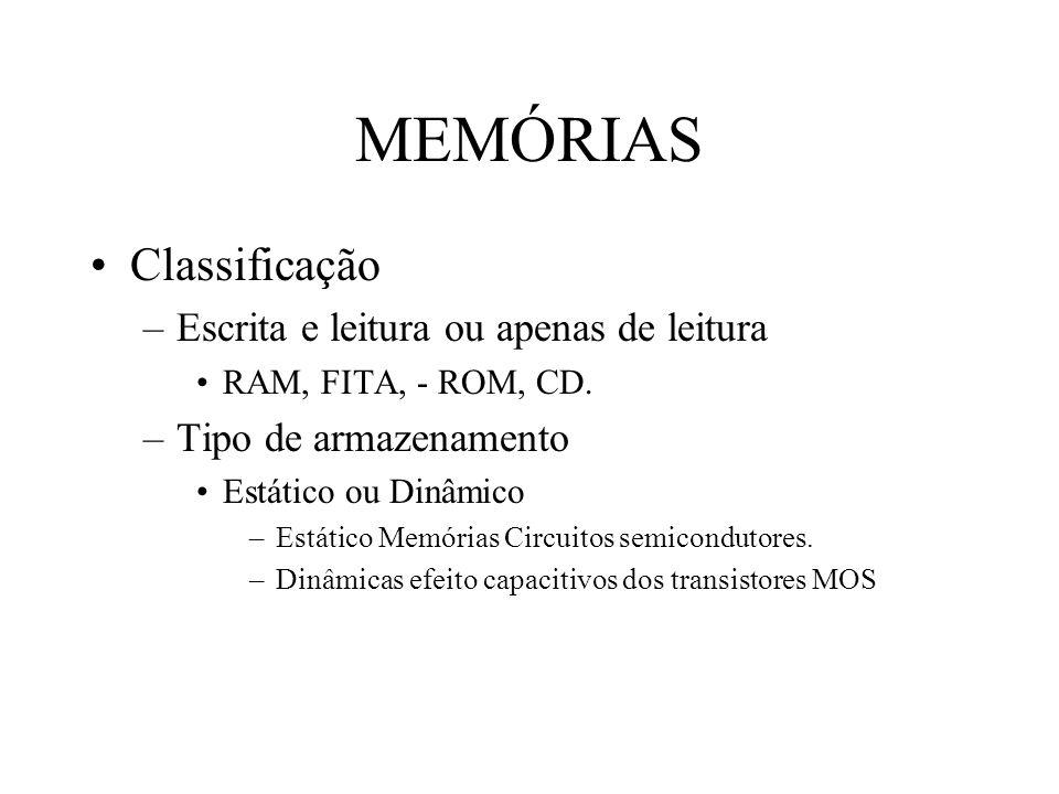 MEMÓRIAS Classificação –Escrita e leitura ou apenas de leitura RAM, FITA, - ROM, CD. –Tipo de armazenamento Estático ou Dinâmico –Estático Memórias Ci