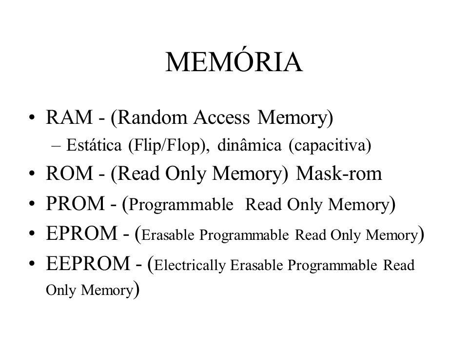 MEMÓRIA RAM - (Random Access Memory) –Estática (Flip/Flop), dinâmica (capacitiva) ROM - (Read Only Memory) Mask-rom PROM - ( Programmable Read Only Me