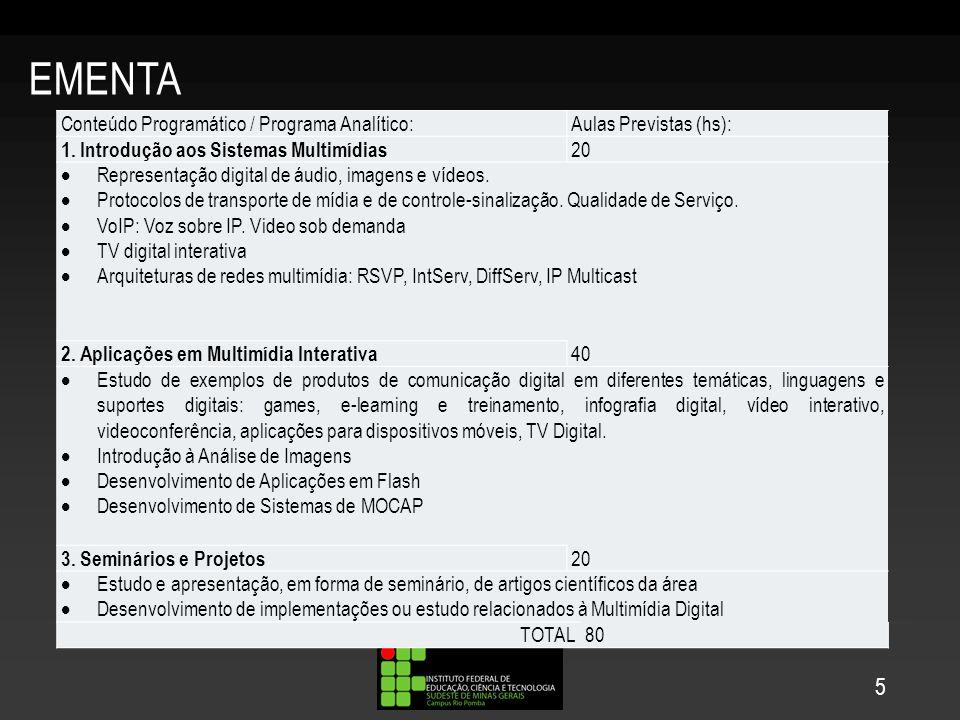 EMENTA 5 Conteúdo Programático / Programa Analítico:Aulas Previstas (hs): 1. Introdução aos Sistemas Multimídias 20 Representação digital de áudio, im