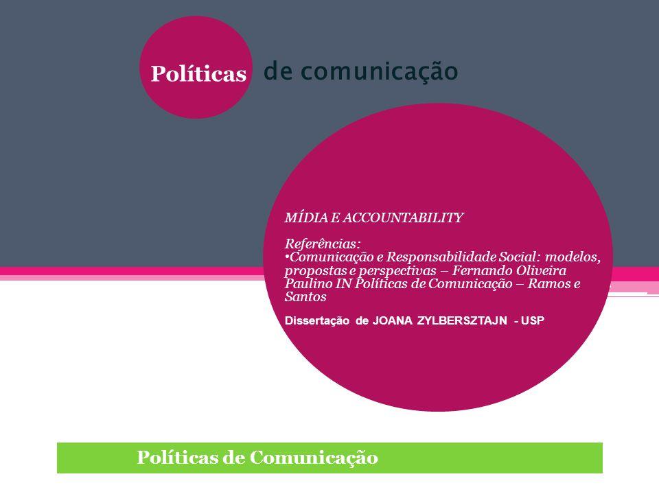 Políticas Políticas de Comunicação MÍDIA E ACCOUNTABILITY Referências: Comunicação e Responsabilidade Social: modelos, propostas e perspectivas – Fern