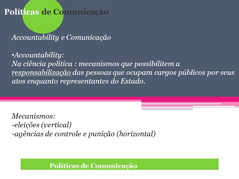 Políticas de Comunicação Accountability e Comunicação Accountability: Na ciência política : mecanismos que possibilitem a responsabilização das pessoa