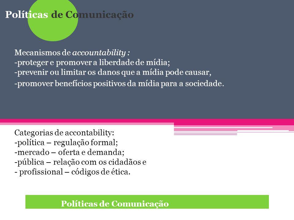 Políticas de Comunicação Como fazer accountability: -treinamento; -avaliação; - monitoramento; -feedback (direitos de resposta, cartas ao editor, página dos leitores, questionamentos sobre exatidão e equilíbrio, memorandos internos, códigos de ética, relatórios críticos); -mídia alternativa -radiodifusão pública.