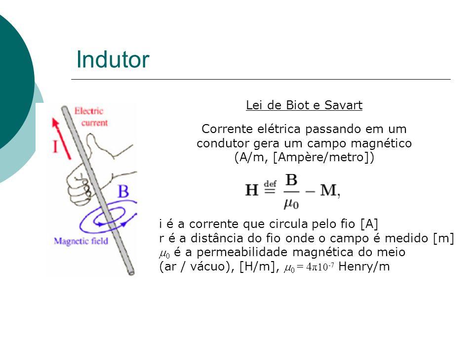 Indutor Corrente elétrica passando em um condutor gera um campo magnético (A/m, [Ampère/metro]) Lei de Biot e Savart i é a corrente que circula pelo fio [A] r é a distância do fio onde o campo é medido [m] é a permeabilidade magnética do meio (ar / vácuo), [H/m], = 4 π10 -7 Henry/m