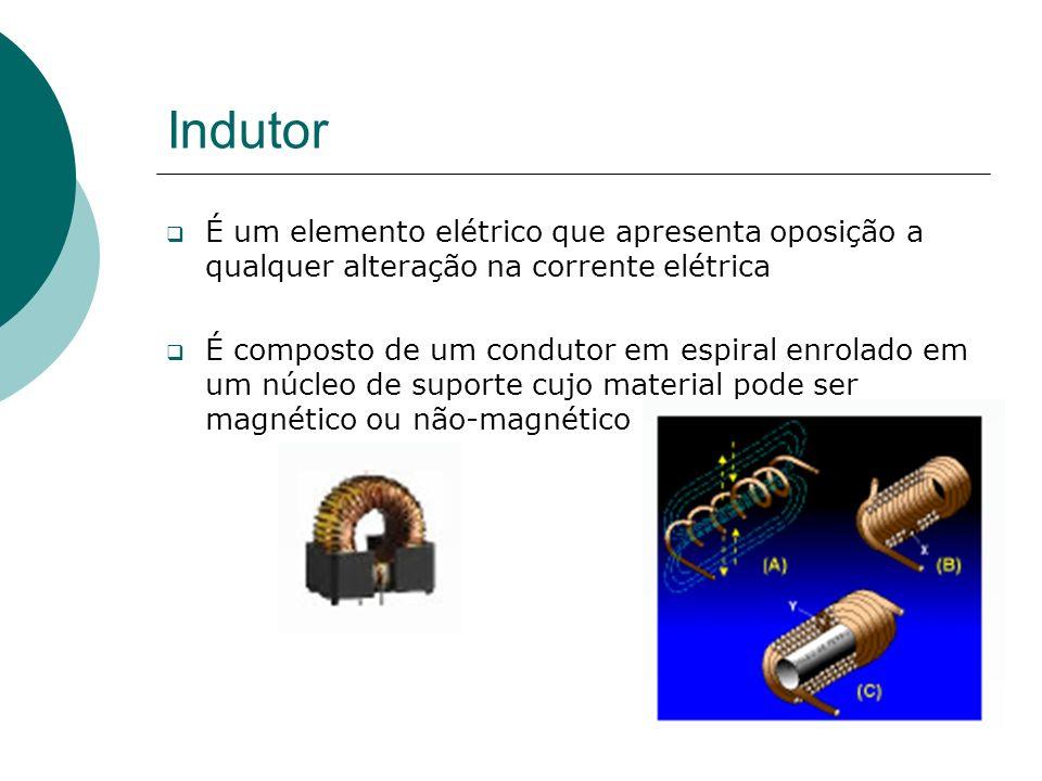 Indutor É um elemento elétrico que apresenta oposição a qualquer alteração na corrente elétrica É composto de um condutor em espiral enrolado em um núcleo de suporte cujo material pode ser magnético ou não-magnético