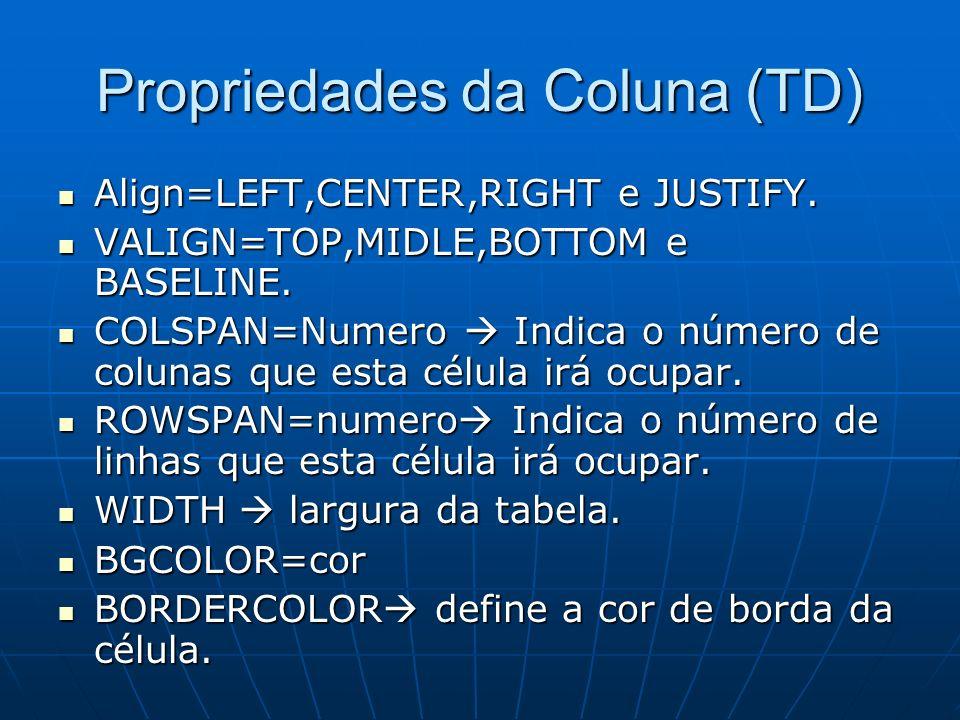 Propriedades da Coluna (TD) Align=LEFT,CENTER,RIGHT e JUSTIFY. Align=LEFT,CENTER,RIGHT e JUSTIFY. VALIGN=TOP,MIDLE,BOTTOM e BASELINE. VALIGN=TOP,MIDLE