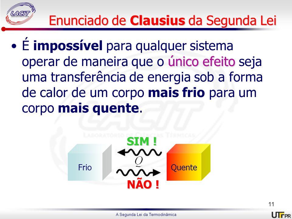 A Segunda Lei da Termodinâmica Enunciado de Clausius da Segunda Lei único efeitoÉ impossível para qualquer sistema operar de maneira que o único efeit