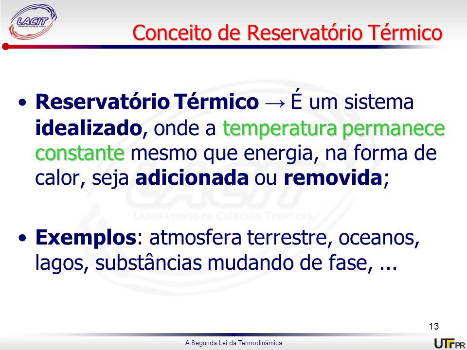 A Segunda Lei da Termodinâmica Conceito de Reservatório Térmico temperatura permanece constanteReservatório Térmico É um sistema idealizado, onde a te