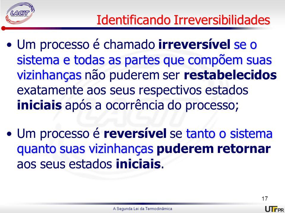 A Segunda Lei da Termodinâmica Identificando Irreversibilidades se o sistema e todas as partes que compõem suas vizinhançasUm processo é chamado irrev