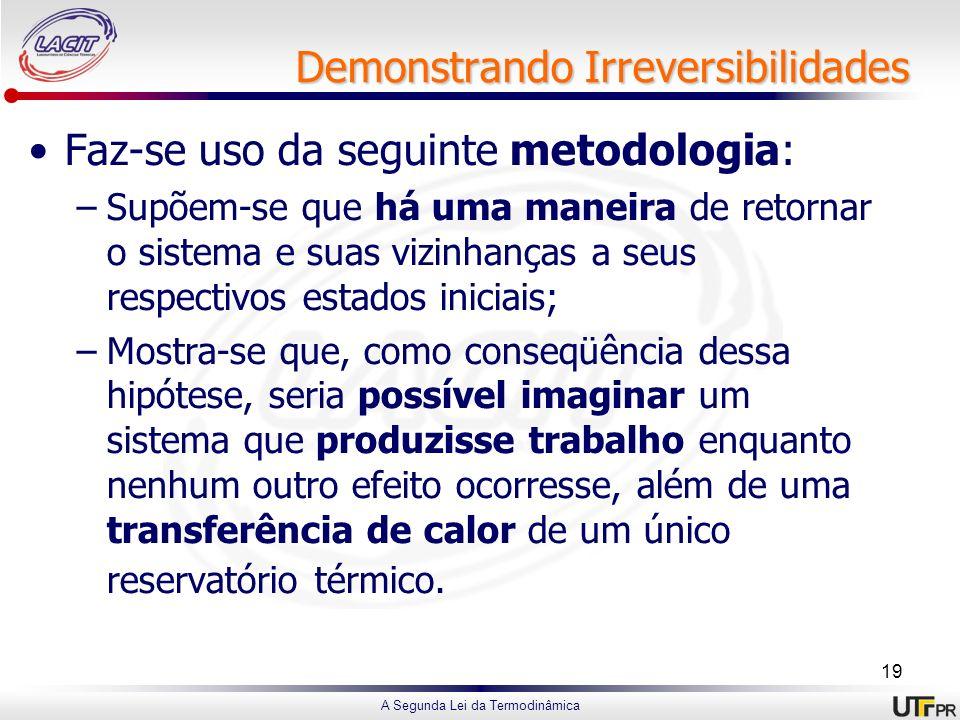 A Segunda Lei da Termodinâmica Demonstrando Irreversibilidades Faz-se uso da seguinte metodologia: –Supõem-se que há uma maneira de retornar o sistema