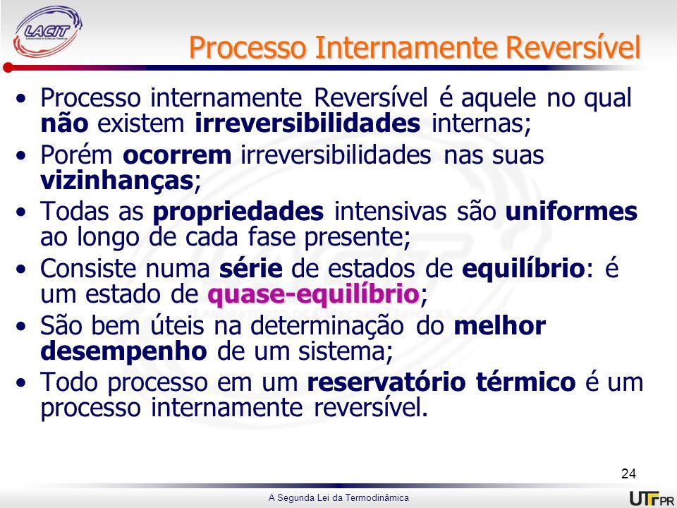 A Segunda Lei da Termodinâmica Processo Internamente Reversível Processo internamente Reversível é aquele no qual não existem irreversibilidades inter