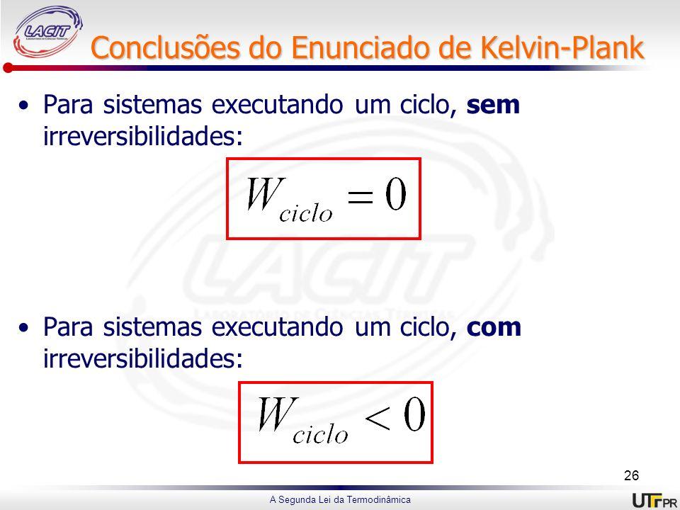 A Segunda Lei da Termodinâmica Conclusões do Enunciado de Kelvin-Plank Para sistemas executando um ciclo, sem irreversibilidades: Para sistemas execut