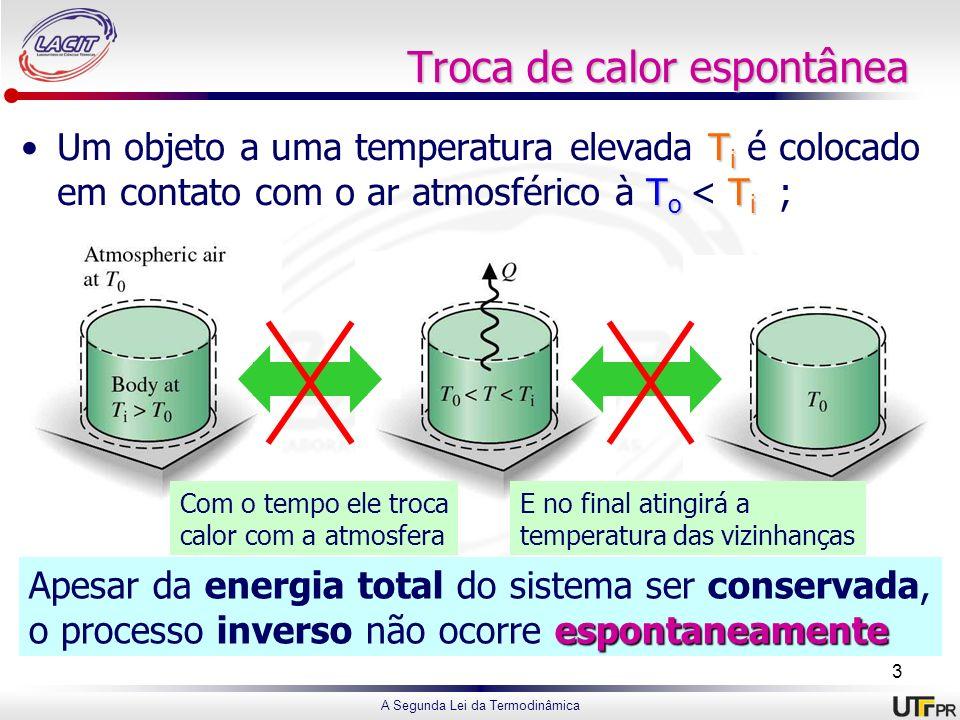 A Segunda Lei da Termodinâmica Troca de calor espontânea T i T o T iUm objeto a uma temperatura elevada T i é colocado em contato com o ar atmosférico