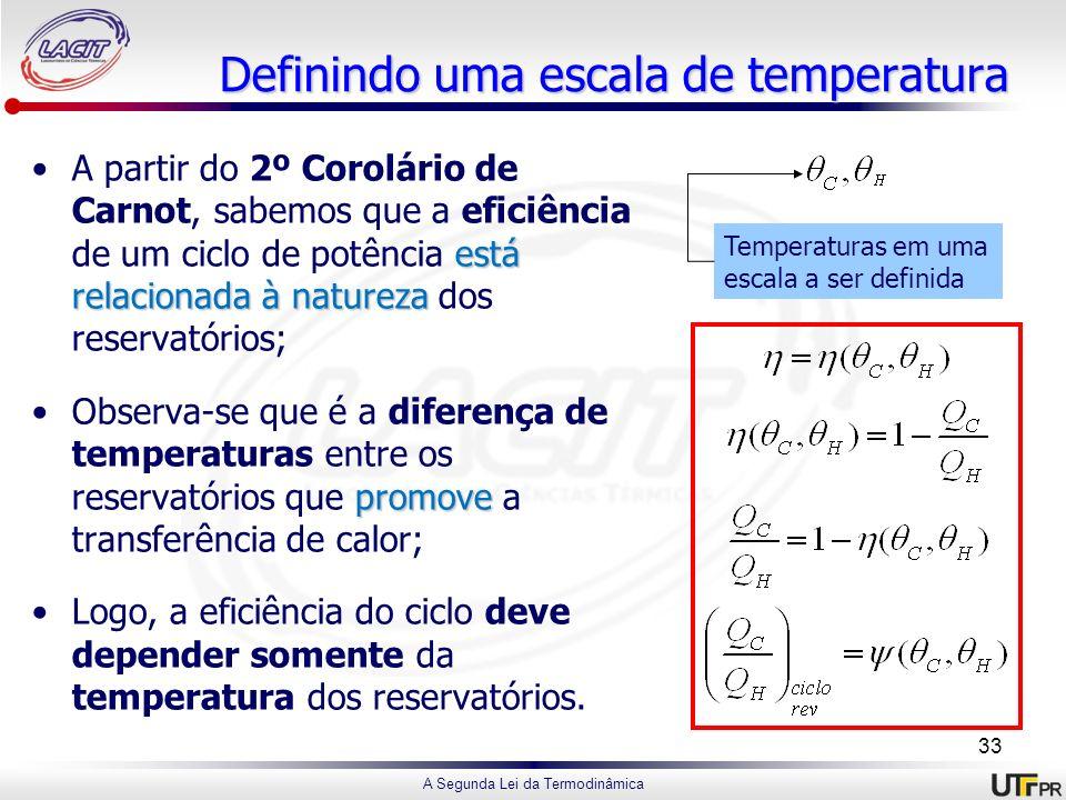 A Segunda Lei da Termodinâmica Definindo uma escala de temperatura está relacionada à naturezaA partir do 2º Corolário de Carnot, sabemos que a eficiê