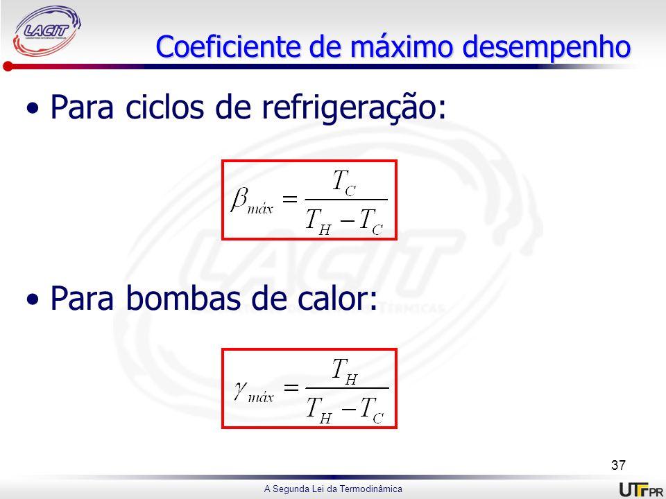 A Segunda Lei da Termodinâmica Coeficiente de máximo desempenho Para ciclos de refrigeração: Para bombas de calor: 37