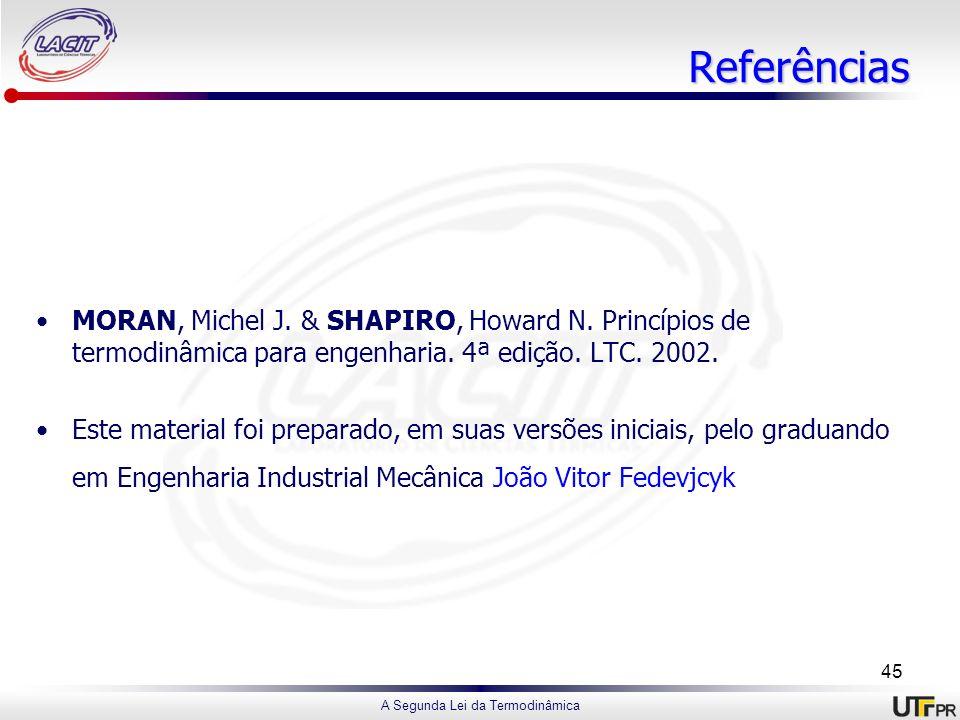 A Segunda Lei da Termodinâmica Referências MORAN, Michel J. & SHAPIRO, Howard N. Princípios de termodinâmica para engenharia. 4ª edição. LTC. 2002. Es