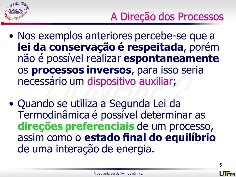 A Segunda Lei da Termodinâmica A Direção dos Processos dispositivo auxiliarNos exemplos anteriores percebe-se que a lei da conservação é respeitada, p