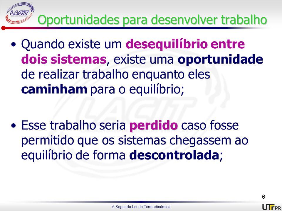 A Segunda Lei da Termodinâmica Oportunidadespara desenvolver trabalho Oportunidades para desenvolver trabalho Quando existe um desequilíbrio entre doi