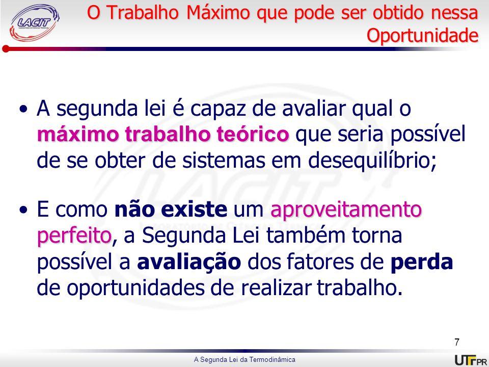 A Segunda Lei da Termodinâmica O Trabalho Máximo que pode ser obtido nessa Oportunidade máximo trabalho teóricoA segunda lei é capaz de avaliar qual o