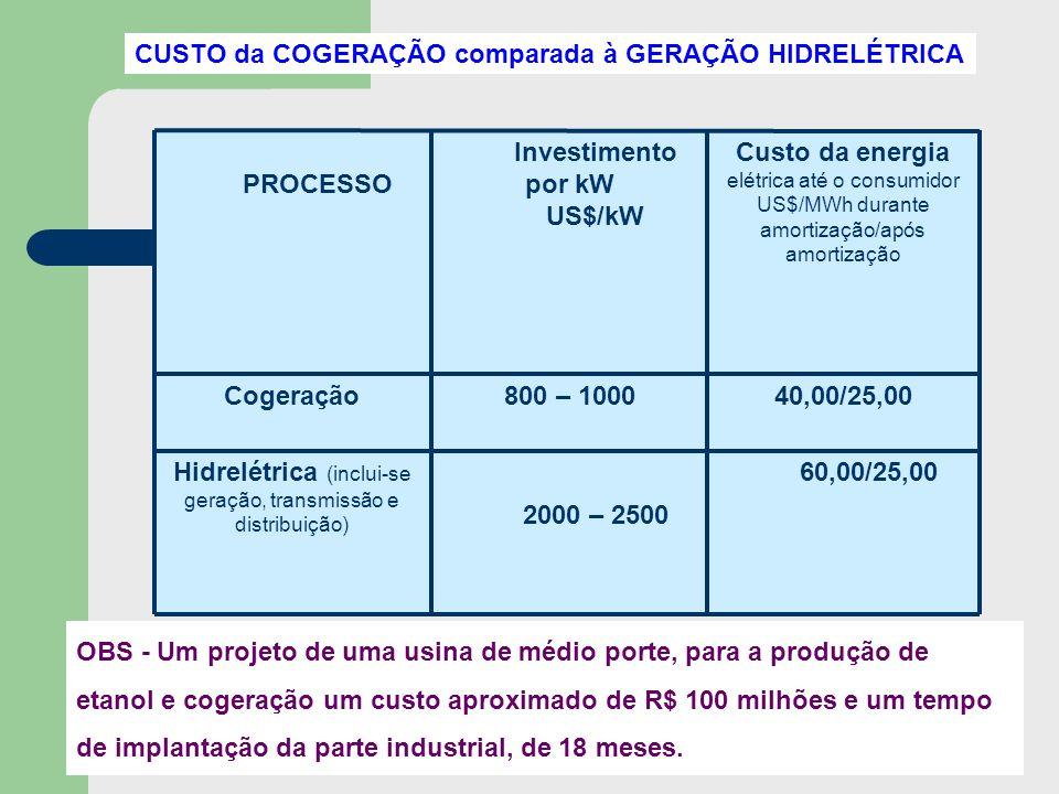 60,00/25,00 2000 – 2500 Hidrelétrica (inclui-se geração, transmissão e distribuição) 40,00/25,00800 – 1000Cogeração Custo da energia elétrica até o co