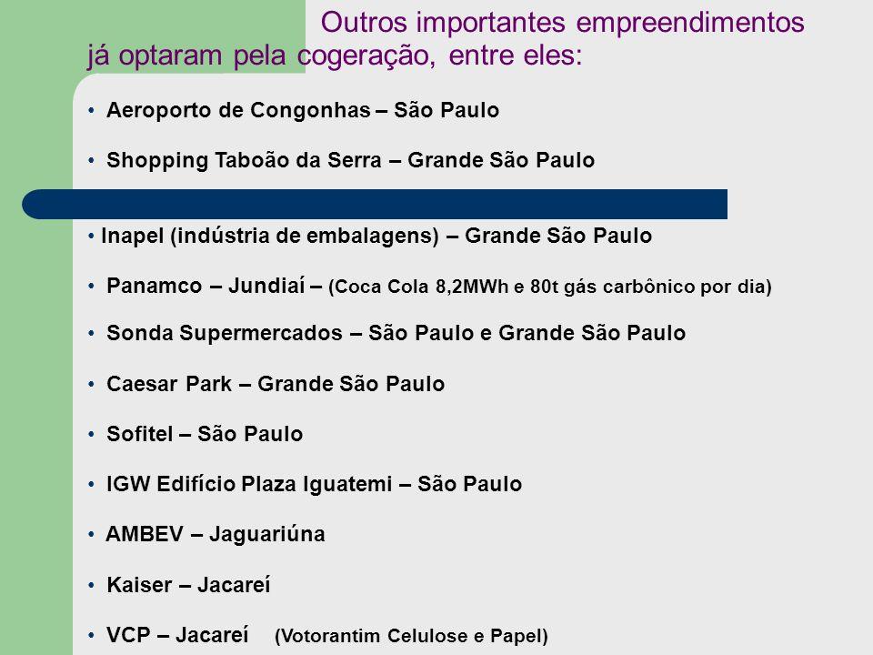 Outros importantes empreendimentos já optaram pela cogeração, entre eles: Aeroporto de Congonhas – São Paulo Shopping Taboão da Serra – Grande São Pau