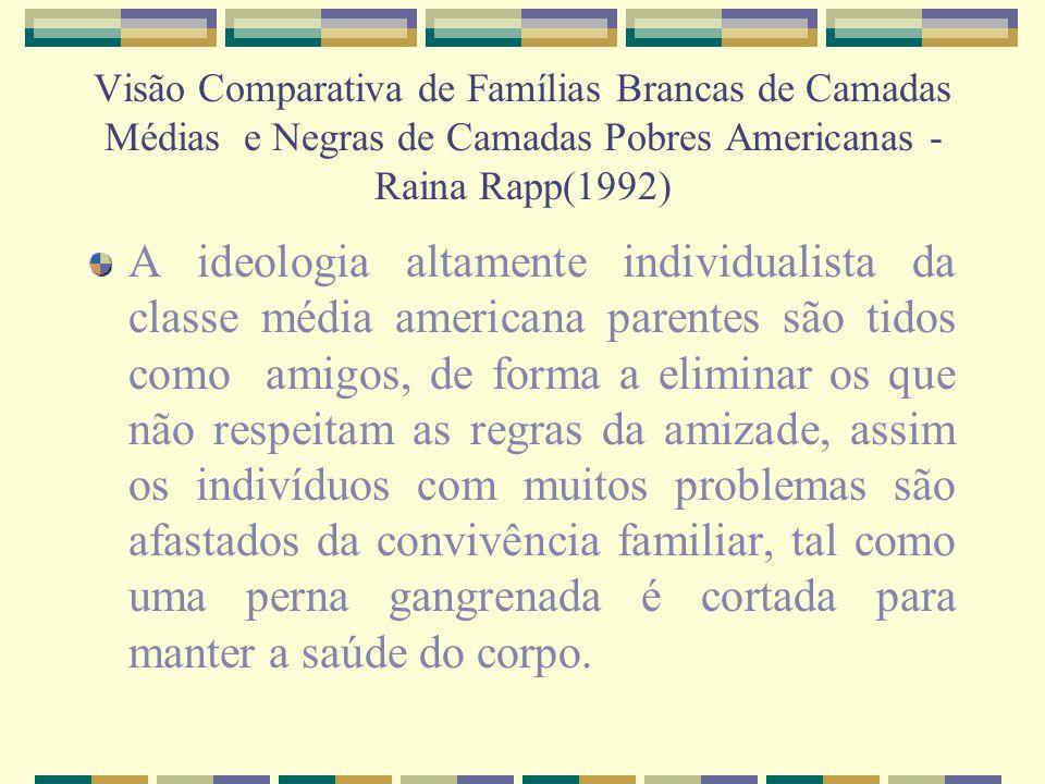 Visão Comparativa de Famílias Brancas de Camadas Médias e Negras de Camadas Pobres Americanas - Raina Rapp(1992) A ideologia altamente individualista