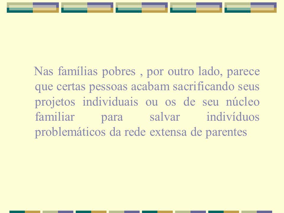 Assim a relação indivíduo-família não pode ser pensada da mesma forma em todo lugar, pois a própria noção de família varia conforme a categoria social com a qual estamos lidando.