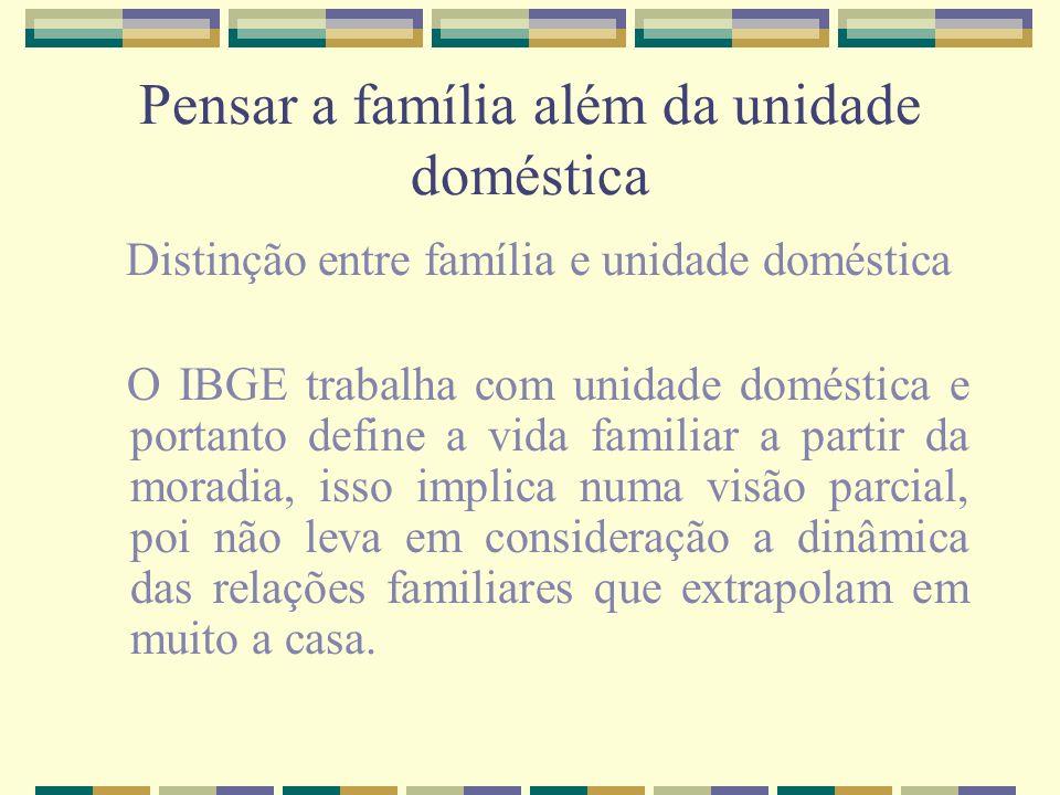 Pensar a família além da unidade doméstica Distinção entre família e unidade doméstica O IBGE trabalha com unidade doméstica e portanto define a vida