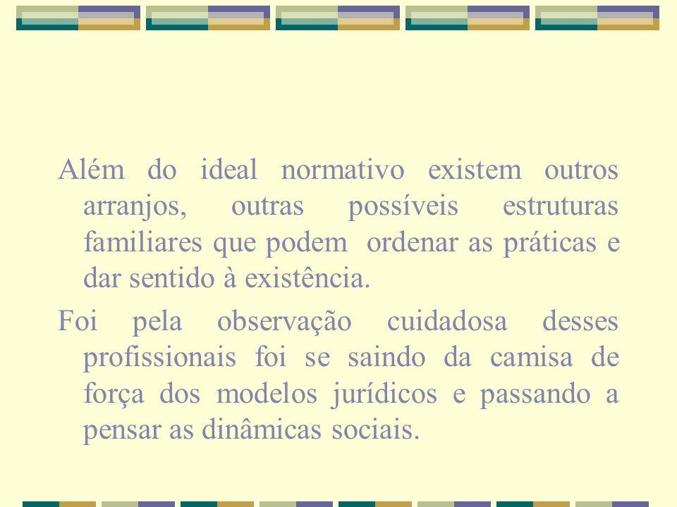 Além do ideal normativo existem outros arranjos, outras possíveis estruturas familiares que podem ordenar as práticas e dar sentido à existência. Foi