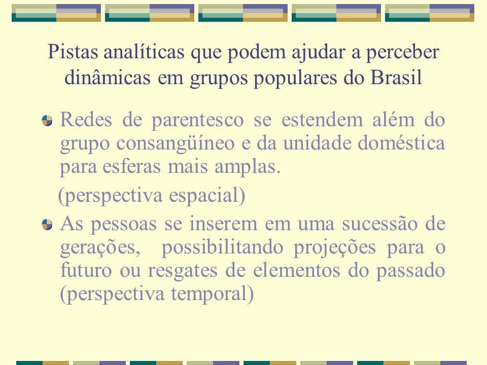 Pistas analíticas que podem ajudar a perceber dinâmicas em grupos populares do Brasil Redes de parentesco se estendem além do grupo consangüíneo e da