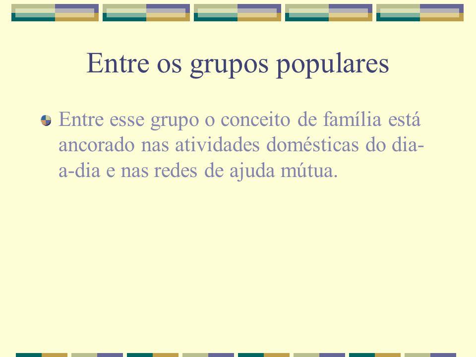 Entre os grupos populares Entre esse grupo o conceito de família está ancorado nas atividades domésticas do dia- a-dia e nas redes de ajuda mútua.