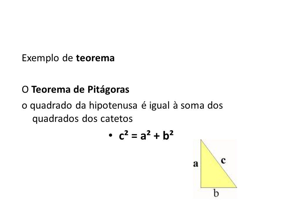 Exemplo de teorema O Teorema de Pitágoras o quadrado da hipotenusa é igual à soma dos quadrados dos catetos c² = a² + b²
