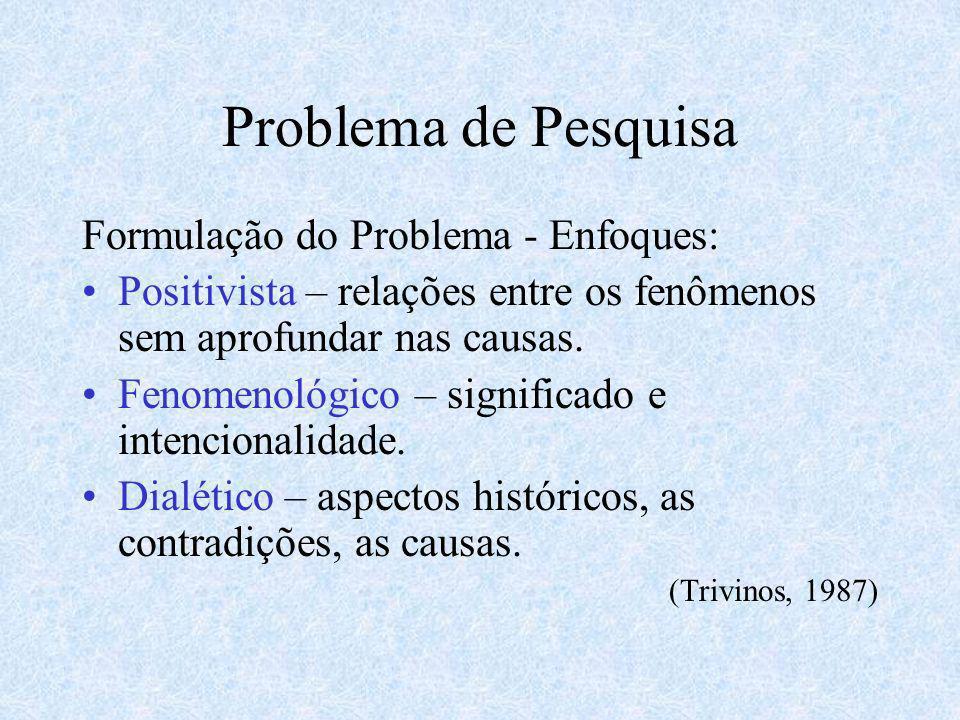 Problema de Pesquisa Formulação do Problema - Enfoques: Positivista – relações entre os fenômenos sem aprofundar nas causas. Fenomenológico – signific