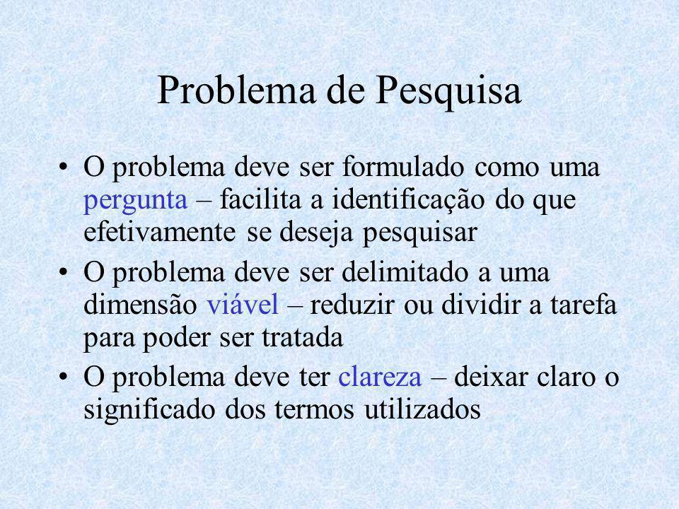 Problema de Pesquisa O problema deve ser formulado como uma pergunta – facilita a identificação do que efetivamente se deseja pesquisar O problema dev