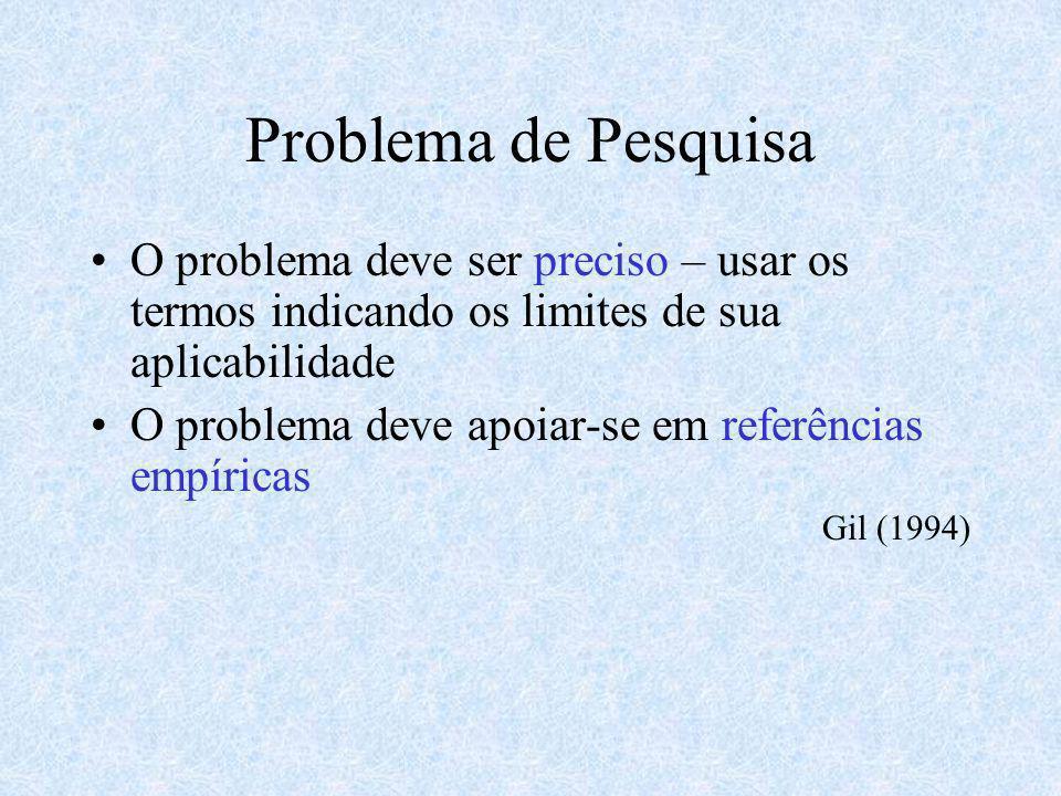 Problema de Pesquisa O problema deve ser preciso – usar os termos indicando os limites de sua aplicabilidade O problema deve apoiar-se em referências