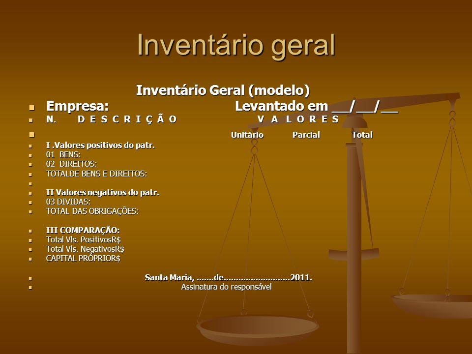 Inventário geral Inventário Geral (modelo) Inventário Geral (modelo) Empresa: Levantado em __/__/__ Empresa: Levantado em __/__/__ N. D E S C R I Ç Ã