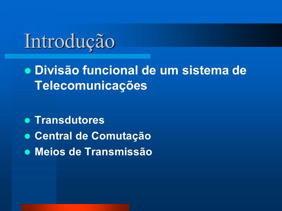 Introdução Divisão funcional de um sistema de Telecomunicações Transdutores Central de Comutação Meios de Transmissão