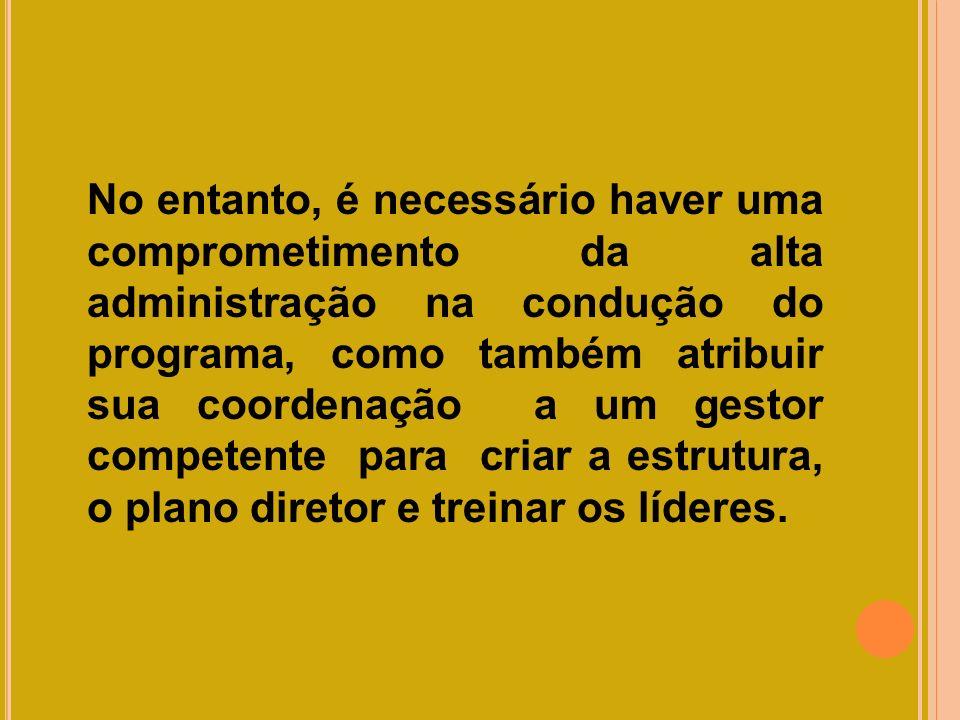 No entanto, é necessário haver uma comprometimento da alta administração na condução do programa, como também atribuir sua coordenação a um gestor com