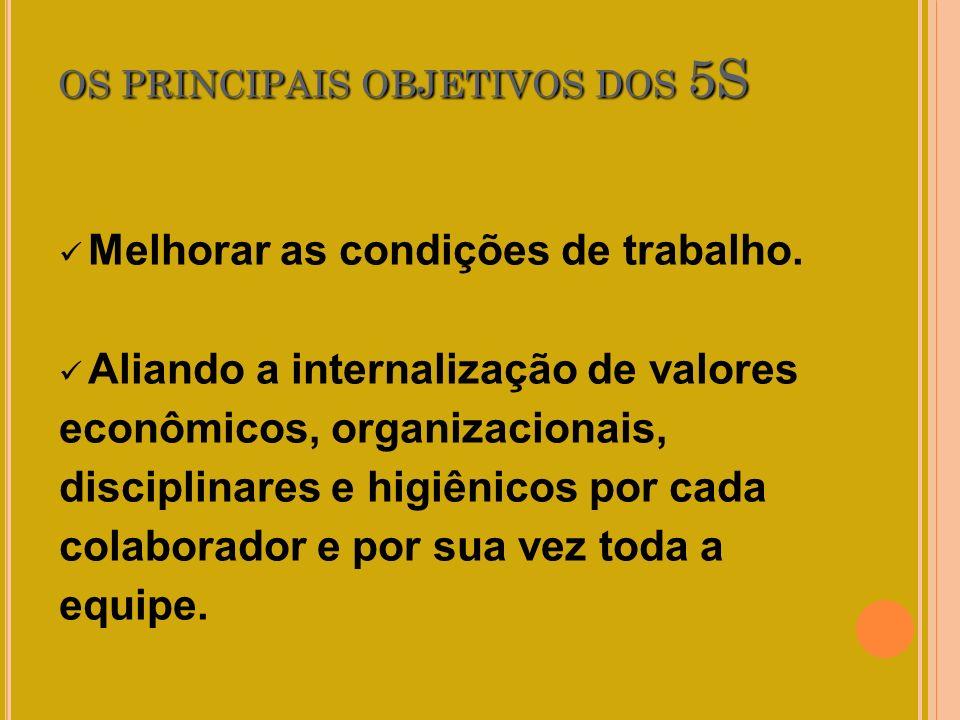OS PRINCIPAIS OBJETIVOS DOS 5S Melhorar as condições de trabalho. Aliando a internalização de valores econômicos, organizacionais, disciplinares e hig