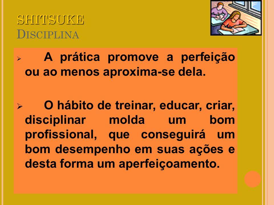 SHITSUKE SHITSUKE D ISCIPLINA A prática promove a perfeição ou ao menos aproxima-se dela. O hábito de treinar, educar, criar, disciplinar molda um bom
