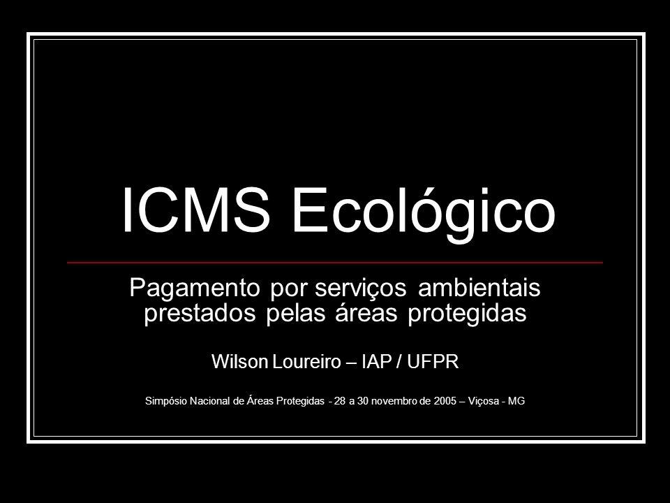 ICMS Ecológico Pagamento por serviços ambientais prestados pelas áreas protegidas Wilson Loureiro – IAP / UFPR Simpósio Nacional de Áreas Protegidas -