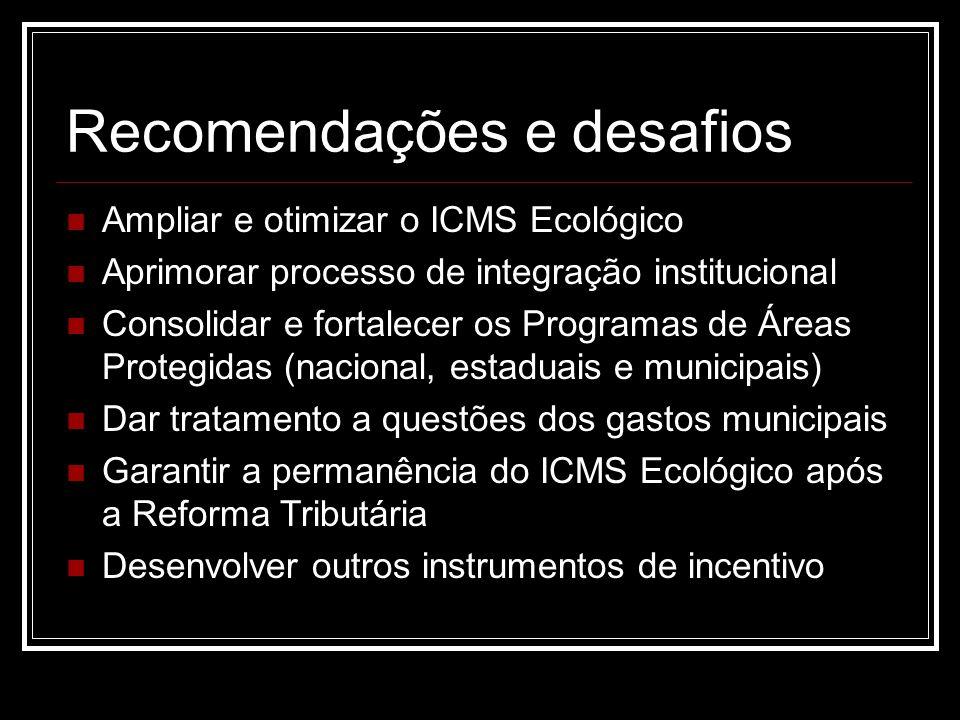 Recomendações e desafios Ampliar e otimizar o ICMS Ecológico Aprimorar processo de integração institucional Consolidar e fortalecer os Programas de Ár