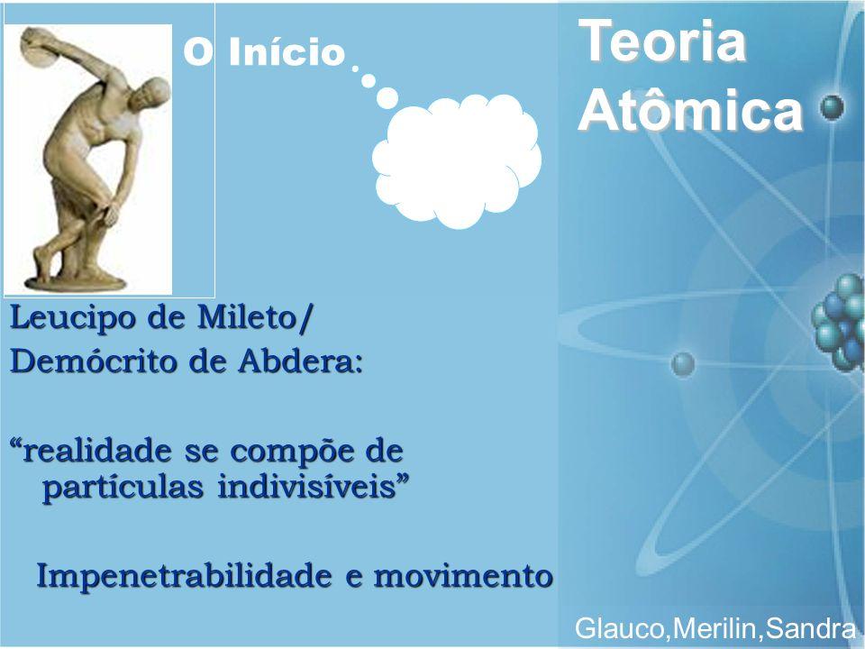 Teoria Atômica Glauco,Merilin,Sandra Leucipo de Mileto/ Demócrito de Abdera: realidade se compõe de partículas indivisíveis Impenetrabilidade e movime