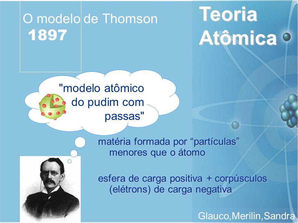 Teoria Atômica Glauco,Merilin,Sandra O modelo de Thomson 1897 matéria formada por partículas menores que o átomo esfera de carga positiva + corpúsculo