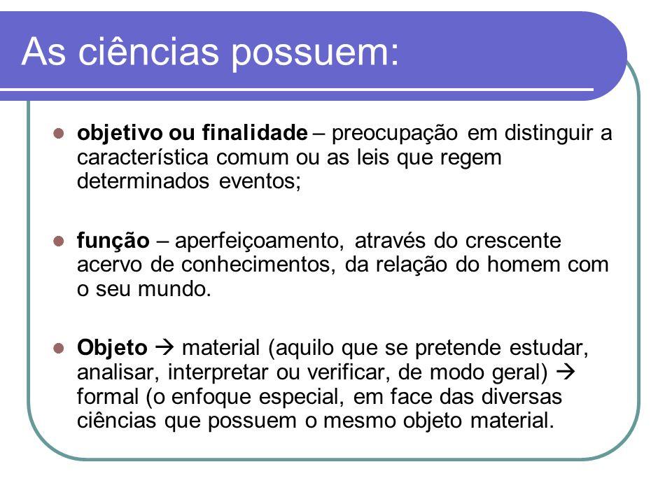 As ciências possuem: objetivo ou finalidade – preocupação em distinguir a característica comum ou as leis que regem determinados eventos; função – ape