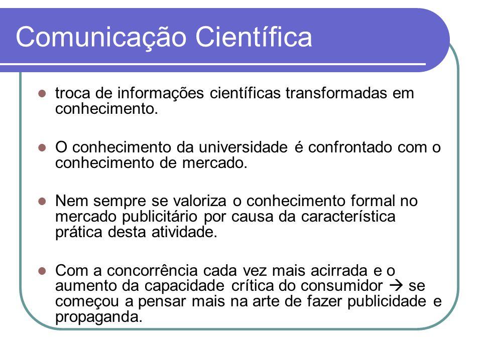 Comunicação Científica troca de informações científicas transformadas em conhecimento. O conhecimento da universidade é confrontado com o conhecimento