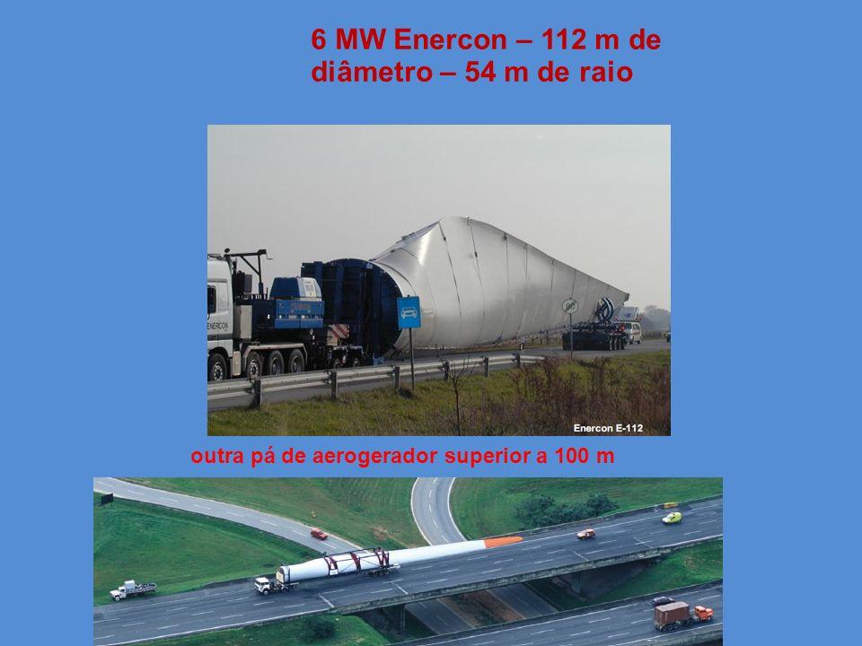 6 MW Enercon – 112 m de diâmetro – 54 m de raio outra pá de aerogerador superior a 100 m
