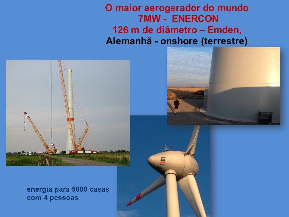 O maior aerogerador do mundo 7MW - ENERCON 126 m de diâmetro – Emden, Alemanhã - onshore (terrestre) energia para 5000 casas com 4 pessoas