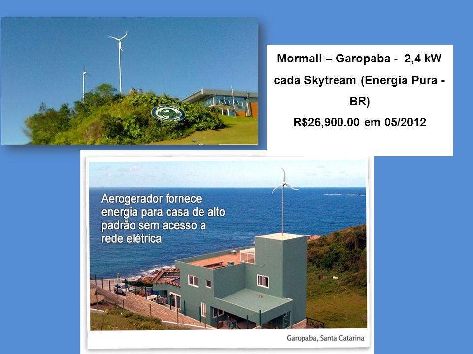 Mormaii – Garopaba - 2,4 kW cada Skytream (Energia Pura - BR) R$26,900.00 em 05/2012