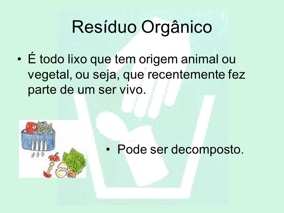 Resíduo Orgânico É todo lixo que tem origem animal ou vegetal, ou seja, que recentemente fez parte de um ser vivo. Pode ser decomposto.